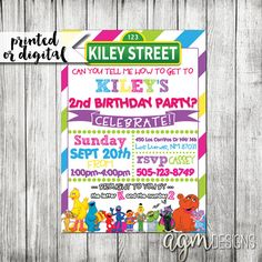 Hey, I found this really awesome Etsy listing at https://www.etsy.com/listing/246382798/sesame-street-girl-invitation-pink