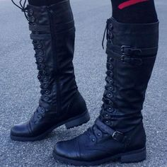 Knee High Lace Up Buckle Straps Boots