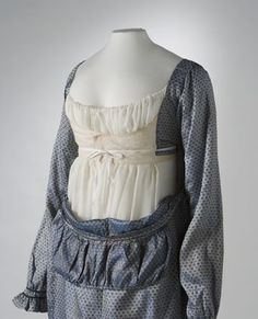 This regency style blue and silver shot silk dress dates from about 1810-1813. Its original owner is believed to have been Devonshire migrant, Ann Deane who arrived in Sydney in 1838 with her son Robert, daughters Ann and Mary and nephew Edgar. Ann's daughters established a private school for young ...