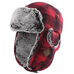 Black and red plaid ushanka hat for men winter plush bomber hat with ear  flaps. Shopping Online 2a175e2cb213