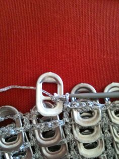 Pop tab (pull tab) crochet – my method… An epic post Soda Tab Crafts, Can Tab Crafts, Tape Crafts, Pop Top Crochet, Pop Top Crafts, Plastic Bottle Tops, Pop Tab Purse, Pop Can Tabs, Aluminum Crafts