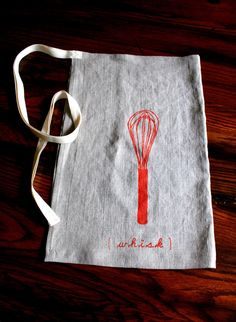 Linen Apron. Hostess Apron. Screen Print. Whisk.