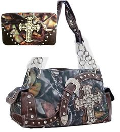Brown Camouflage Western Buckle & Cross Purse W Matching Wallet - Handbags, Bling & More!