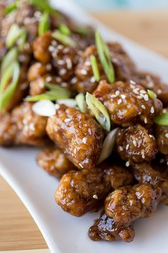 "General ""Pow's!"" Chicken in a Sweet 'n Spicy Glaze, with Green Onions and Toasted Sesame Seeds"