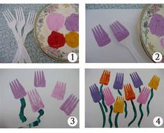 10 DIY projects for children: Fork printed flowers