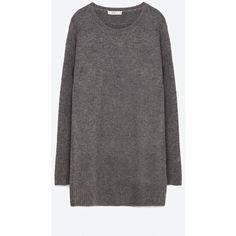 Zara Round Neck Sweater Dress ($50) ❤ liked on Polyvore featuring dresses, grey, round neckline dress, gray sweater dress, grey dress, grey sweater dress and zara dresses
