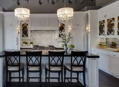"""Love the lighting and sconces. (pendants are similar to Crystorama Hampton Polished Chrome 14"""" mini wide chandelier; Lampsplus P9677) (sconces similar to Robert Abbey the Muses Collection 12"""" high wall sconce; Lampsplus 50065)"""