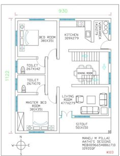 1120 Square Feet 2 Bedroom Single Floor Contemporary Style Modern Home Design and Plan - Home Pictures :: Easy Tips 2 Bedroom House Design, Home Map Design, Three Bedroom House Plan, Bungalow House Design, Modern House Design, Design Bathroom, Design Kitchen, Bathroom Interior, Kitchen Interior