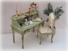 Dollhouse Shabby Desk and Chair set in green