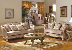 2 pc Angelica collection multi tone and pattern chenille fabric upholstered sofa and love seat with antique white finish wood trim