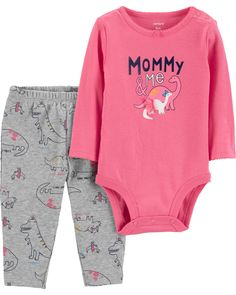 e391e9162 Complete with a long-sleeve, slogan bodysuit and coordinating graphic  pants, this 2