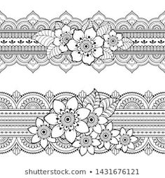 Portfolio Katika w Shutterstock Doodle Patterns, Henna Patterns, Lace Patterns, Henna Mandala, Mandala Tattoo Design, Mehndi Flower, Lace Drawing, Stencil Stickers, Henna Drawings