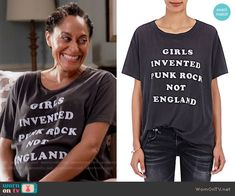 Rainbow's 'Girls Invented Punk Rock Not England' t-shirt on Black-ish.  Outfit Details: https://wornontv.net/70079/ #Blackish