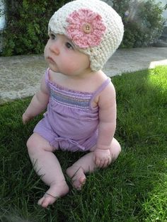Cream Organic Crochet Baby Hat with Interchangeable Flowers