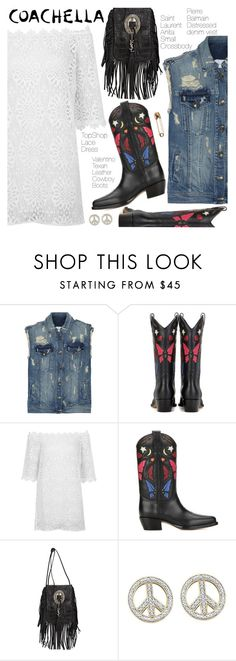 """Coachella Style"" by pokadoll ❤ liked on Polyvore featuring Pierre Balmain, Valentino, Topshop, Yves Saint Laurent, BillyTheTree and Marc Jacobs"