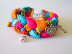 braided fabric charm bracelet