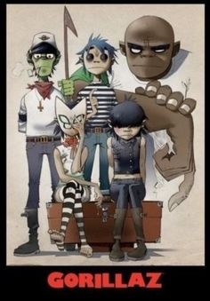 Gorillaz posters: Gorillaz poster featuring the cartoon characters of the band. This Gorillaz All Here poster has Murdoc, Noodle and Russel. The Gorillaz were formed in 1998 by Damon Albarn of Blur. Damon Albarn, Rock Posters, Art And Illustration, Gorillaz Plastic Beach, Gorillaz Band, Gorillaz Fan Art, Gorillaz Noodle, Gorillaz Quotes, Murdoc Gorillaz