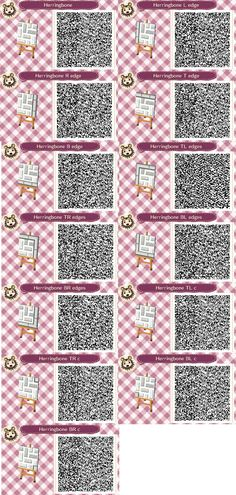 Herringbone path for animal crossing, QR codes for all borders and corners, grey and white raised bricks with white background.