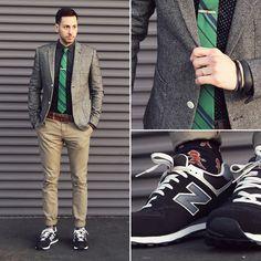 Topman Blazer, Forever 21 Shirt, Ben Sherman Tie, Hot Topic Pants, New Balance Sneakers, Topman Socks