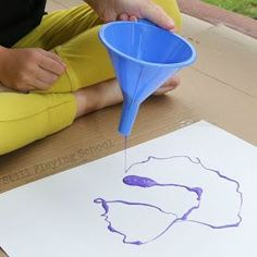 Still Playing School: Funnel Painting Process Art for Kids Process Art Preschool, Preschool Activities, Preschool Weather, Art Activities For Toddlers, Creative Activities For Kids, Autism Crafts, Kids Crafts, Summer Crafts, Painting For Kids