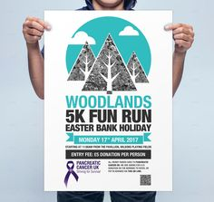 Woodlands Charity Fun Run Poster Design using varying weights of type and a flat icon style image.