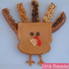 It's TURKEY time!! ~~~~ Tom Turkey ~ Bread ~ Peanut Butter ~ Embellishments ~ Pretzel Sticks ~ Spread peanut butter or anything sticky on 2 pieces of bread.  Cut one piece into 5 pieces …