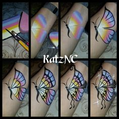 Luxurious Step-by-step facepaint butterfly Unbelievable Step-by-step facepaint bu. Bump Painting, Face Painting Tips, Face Painting Tutorials, Belly Painting, Face Painting Designs, Painting Patterns, Painting For Kids, Tole Painting, Tinta Facial