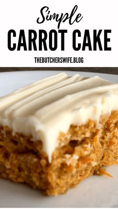Great basic carrot cake with icing Better the second day Would consider adding raisins and orange zest and going a little lighter on the carrots Carrot Cake Icing, Carrot Cake Bars, Easy Carrot Cake, Moist Carrot Cakes, Simple Carrot Cake Recipe, Carrot Cake Cupcakes, Köstliche Desserts, Delicious Desserts, Dessert Recipes