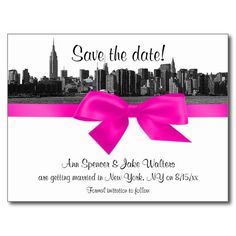 NYC Wide Skyline Etched BW Hot Pink Save the Date Postcard