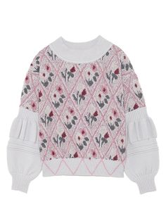lily brown ❀ tricot knit pullover swater rose à fleur (pink flowers knit)