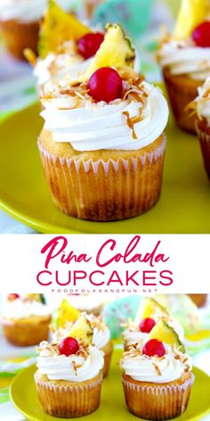 These Pina Colada Cupcakes have a coconut-pineapple cupcake base rich coconut cream cheese frosting and they're garnished with toasted coconut pineapple triangles maraschino cherries and paper umbrellas. Basically it's summer in cupcakeform. Pina Colada Cupcakes, Pineapple Cupcakes, Pineapple Frosting, Dessert Simple, Köstliche Desserts, Dessert Recipes, Gourmet Cupcake Recipes, Alcoholic Desserts, French Desserts