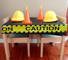 Decorated table at a Construction Birthday Party!  See more party ideas at CatchMyParty.com!