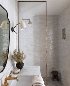 """Vivir Design on Instagram: """"Absolutely extraordinary! The aged brass shower frame paired with that zellige tile is such a beautiful combination. [ Design:…"""" Bathroom Renos, Master Bathroom, Washroom, Bathroom Renovations, Custom Home Builders, Custom Homes, Bathroom Inspiration, Interior Inspiration, Mini Bad"""
