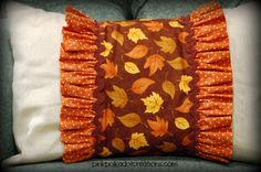 fall pillow and pillow wrap with full directions to make your own.  Pink Polka Dot Creations