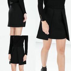 NWT ZARA MINI SKIRT AW14 BLACK SIZE L #ZARA #Mini