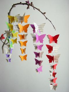 Baby Mobile-Butterflies on Branch-Rainbow Colours with Upcycled Sheet Music by #youngheartslove
