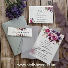 pink and purple floral wedding invitation with vellum paper and belly band SWPI005 #wedding #weddinginvitations#stylishwedd #stylishweddinvitations #vellumweddinginvitations