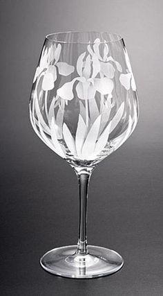Wild Iris Wine Goblet glass by Cynthia Myers