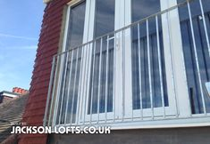 Railing for loft conversion French windows These galvanized railings are one option for UPVC French inward opening windows. A guard railing is required on your loft conversion for building regulati...