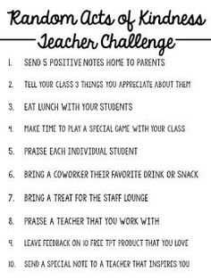 With tomorrow being Random Acts of Kindness Day, I was inspired to create a challenge for myself and my fellow teachers! I bring you. The Random Acts of Kindness Teacher Challenge - Classroom - Education Teacher Organization, Teacher Tools, Teacher Resources, Teacher Hacks, Teacher Humor, Preschool Teacher Salary, Teacher Stuff, Preschool Teacher Quotes, Student Teacher
