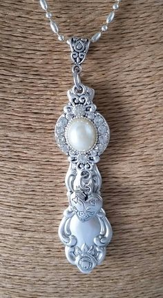 Vintage Silverware Pendant with pearl connector by JunktionAlley