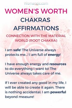 If you struggle with self-worth, affirmations and working with the energy of your chakras can be really powerful. Try these affirmations for your root chakra.  Root, Sacral, Solar Plexus, Heart, Throat, Third Eye, Crown, Chakra meaning, Chakra affirmation, Chakra Mantra, Chakra Energy, Energy, Chakra articles, Chakra Healing, Chakra Cleanse, Chakra Illustration, Chakra Base, Chakra Images, Chakra Signification, Anxiety Relief, Anxiety Help.