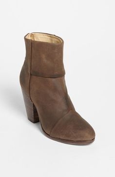 "rag & bone 'Newbury' Bootie available at #Nordstrom $525.00 Item #909967  A chunky stacked heel lifts a round-toe bootie shaped from waxed Italian suede for a utilitarian finish.      3 1/2"" heel (size 38.5).     6"" boot shaft.     Back zip closure.     Italian waxed suede upper/leather lining and sole.     By rag & bone; imported.     Salon Shoes."