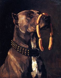 Dog with Sausages(also known as Hail Caesar We Who are about to Die Salute You) by Wilhelm Trubner