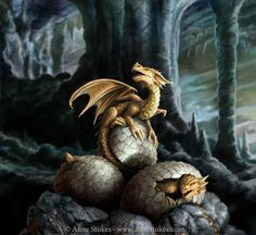 Frisch geschlüpft. Junge Drachen. Dragons hatching in their cave. Golden Treasures by Anne Stokes