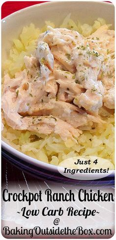 This Crockpot Ranch Chicken recipe has just 4 ingredients, is low carb and super easy to make. Great for family Sunday dinners. chicken recipes for dinner Keto Crockpot Recipes, Slow Cooker Recipes, Diet Recipes, Cooking Recipes, Healthy Recipes, Crockpot Meals, Low Carb Crockpot Chicken, Recipies, Diabetic Chicken Recipes