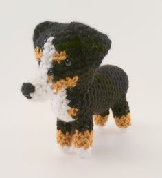 Are you the proud owner of a Australian Shepherd? If so, show your pride with this mini pooch! Standing at about 5 inches tall and 6 inches long (nose to rump), this little guy is the perfect companion for your desk at work (and who wouldnt want some company during the work day?) or your nightstand at home. This little Aussie will, without a doubt, be the perfect addition to any Australian Shepherd collection!   (Based off of a pattern by June Gilbank)