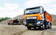 Descargar fondos de pantalla DAF CF Euro 6, 4x8, de la Carrera de dump truck, cantera, naranja CF, la entrega de la carga, camiones DAF