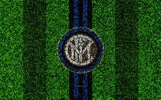 Scarica sfondi FC Internazionale, 4k, logo, calcio prato, il calcio italiano di club, blu, nero, linee, Inter emblema, di erba, di texture, di Serie A, Milano, Italia, calcio, Inter, Milan