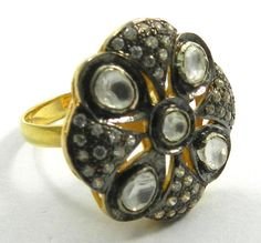 Stunning Polki Design Oxidized Unique Ring Jewelry With Fine 18k Gold Plating  #Magicalcollection